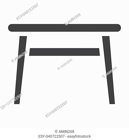 Table solid icon, Furniture and interior element, vector graphics, a filled pattern on a white background, eps 10