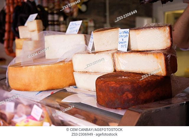 Different kind of cheese at the Mercado de Nuestra Senora de Africa market, Santa Cruz, Tenerife, Canary Islands, Spain, Europe