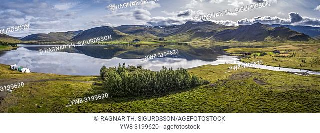Landscape Mt Medalfell, Lake Medalfellsvatn, Iceland. This image is shot using a drone