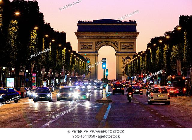 Arc de Triomphe and the Champs Elysee at night in Paris