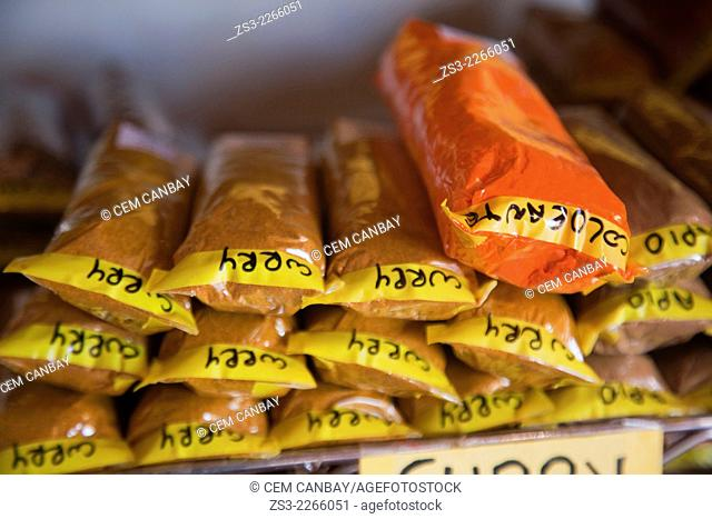 Plastic bags filled with curry at the Mercado de Nuestra Senora de Africa market, Santa Cruz, Tenerife, Canary Islands, Spain, Europe