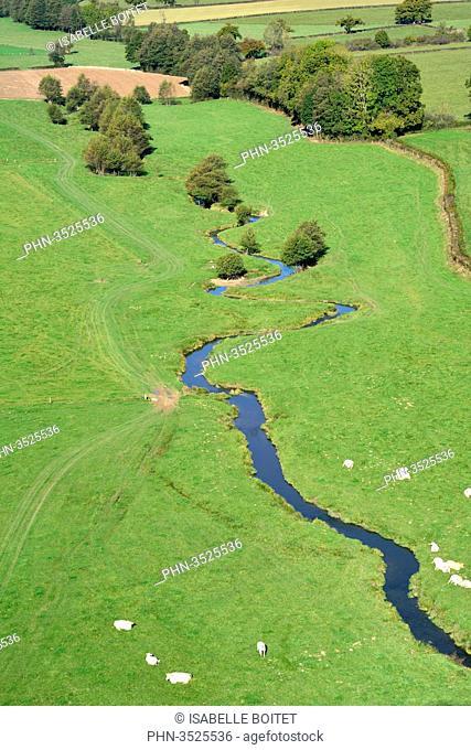 France, Bourgogne, Saone-et-Loire, regional natural reserve of Morvan, aerial view