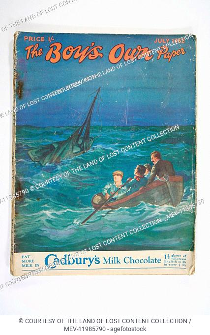 Boy's Own Paper July 1932 front cover illustration men in boat on a choppy sea