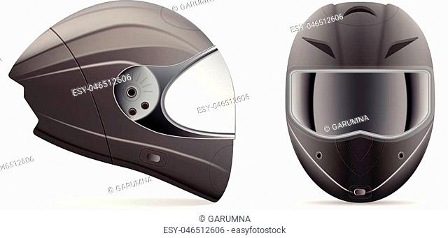 High Quality Light Gray Motorcycle Helmet. Front And Side View Isolated On A White Background. Vector Illustration. Sport Concept