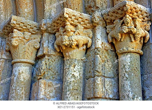 Capitals, Church of Santa Maria, Sant Marti Sarroca, Catalonia, Spain