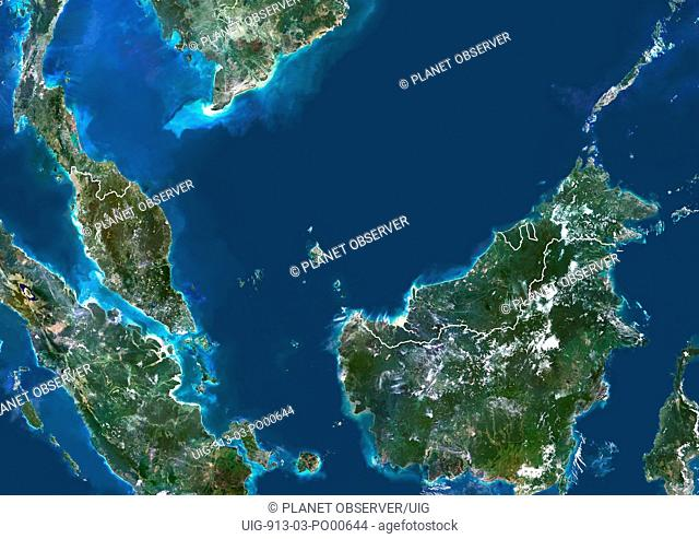 Malaysia, Asia, True Colour Satellite Image With Border. Satellite view of Malaysia with border. This image was compiled from data acquired by LANDSAT 5 & 7...