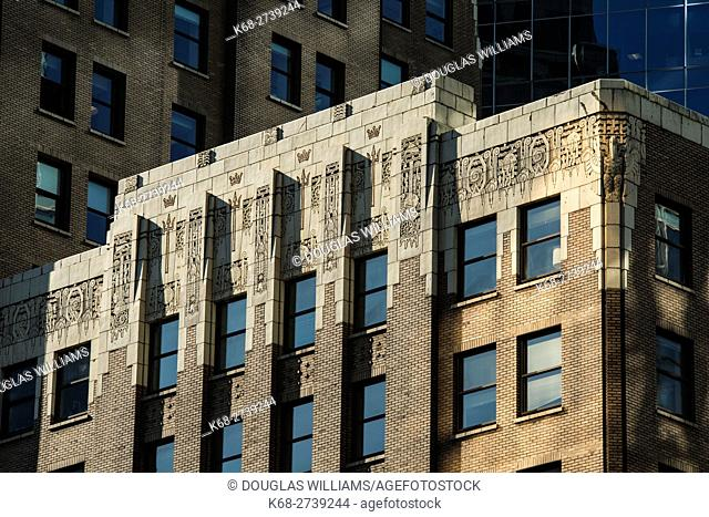 art deco detail on the Marine Building, Vancouver, BC, Canada