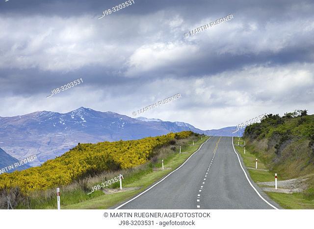 Road Nr. 6 to Queenstown along Lake Wakatipu, New Zealand. Otago, Kingston Road, South Island, New Zealand