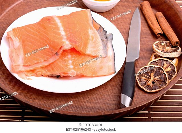 Slice of red fish salmon
