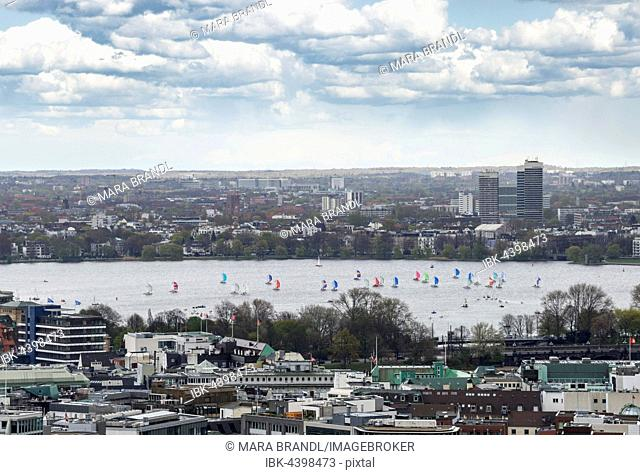 Sailboats, Outer Alster Lake, view from The Michel, Hamburg, Germany