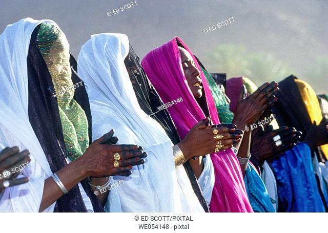 Tuaregs celebrating the Sebiba festival, Djanet. Tassili n'Ajjer, Sahara desert. Algeria