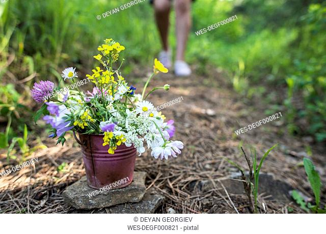 Small bucket with wildflowers on the ground
