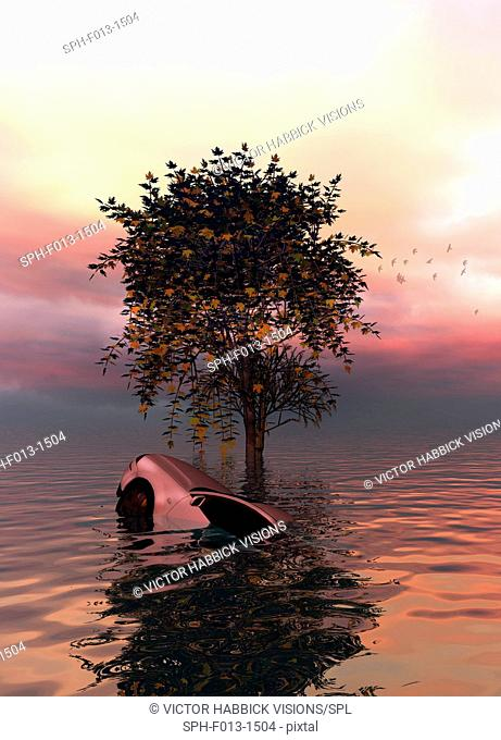 Tree and car submerged in flood water, illustration