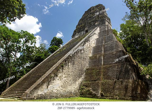 Temple V, a ruin in the archeological site of the ancient Mayan culture in Tikal National Park, Guatemala. UNESCO World Heritage site