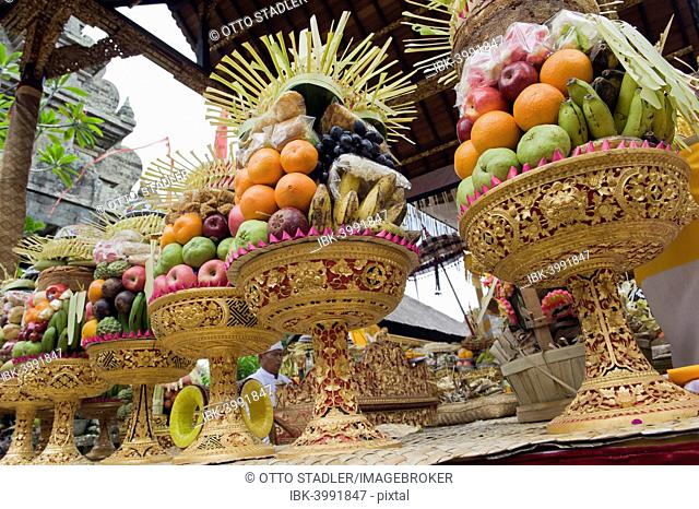 Sacrificial offerings, fruit at a temple ceremony, Pura Desa Temple, Ubud, Bali, Indonesia