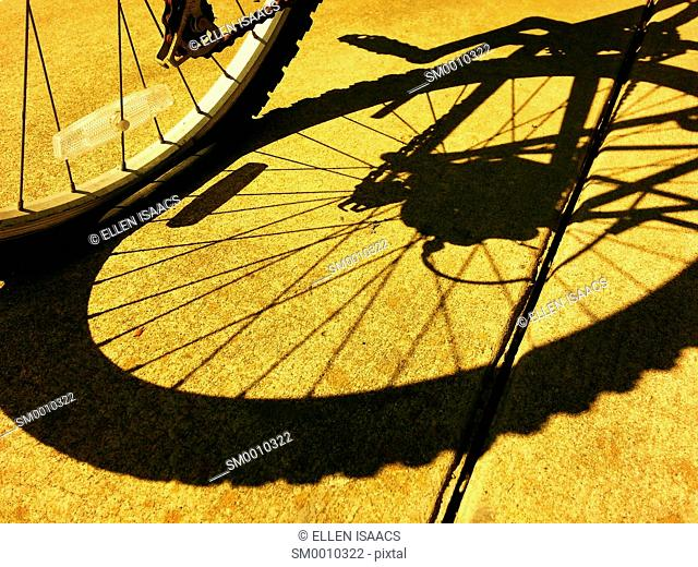 Shadow from bicycle wheel, tire and spokes cast onto a sidewalk