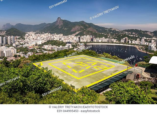 Rio de Janeiro View from Urca Mountain with Helipad, Brazil