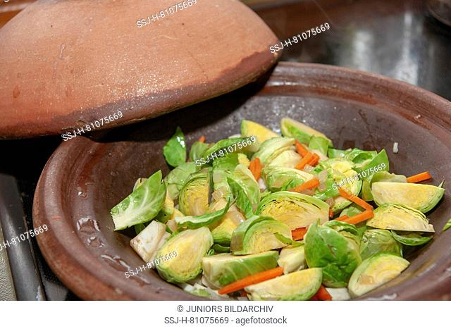 Carrots and Brussels sprouts cooked in a Tajine. Germany