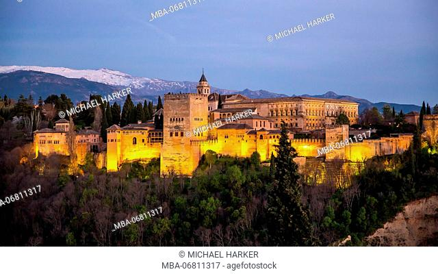 Europe, Spain, Andalusia, Granada, view of Alhambra, lighting, evening