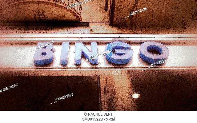 Bingo sign, Conde Aranda Street, Saragossa, Aragon, Spain
