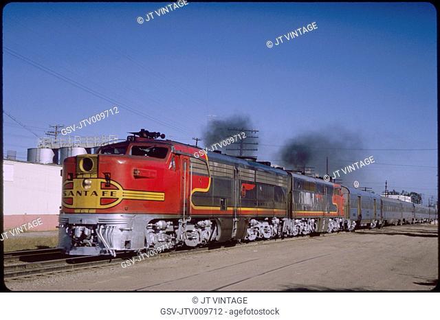 Santa Fe Diesel Locomotive Train, Barstow, California, USA, 1966
