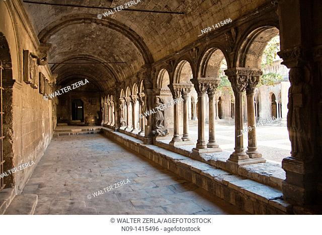 Medieval stone galleries built in the 13th Century at the Cathedral of St Trophimus in Arles, France