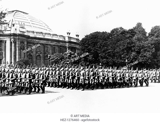 German troops parading before the German commandant of Paris, General Ernst von Schaumburg, 8 July 1941