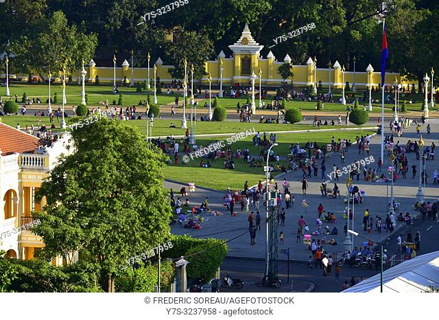Royal Palace square,Phnom Penh,Cambodia,South east Asia