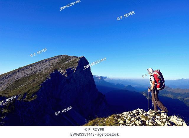 female hiker, Pass of la Ville, France, Isere, Vercors National Park