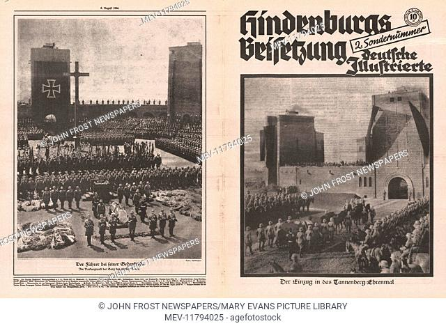 1934 Deutsche Illustrierte front and back pages (Germany) Funeral of President Paul von Hindenburg