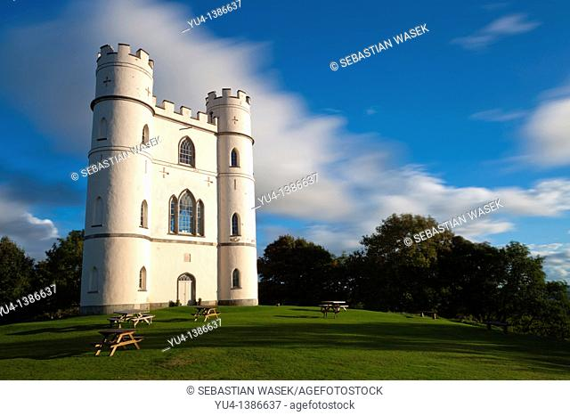 Haldon Belvedere, also known as Lawrence Castle, an 18th century tower in woodland on Haldon Hill near Exeter in Devon  England  Europe