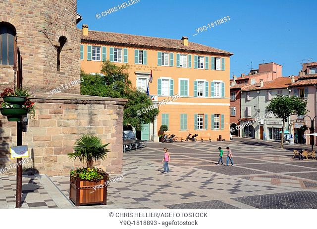 Main Square with Town Hall and Cathedral Frejus Var Provence France