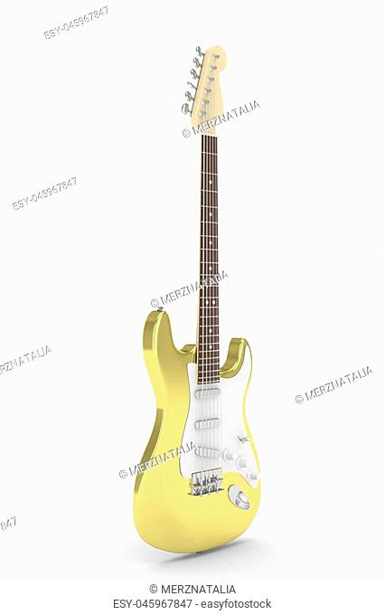 Isolated golden electric guitar on white background. Musical instrument for rock, blues, metal songs. 3D rendering