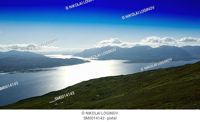 Norway fjord channels landscape background hd