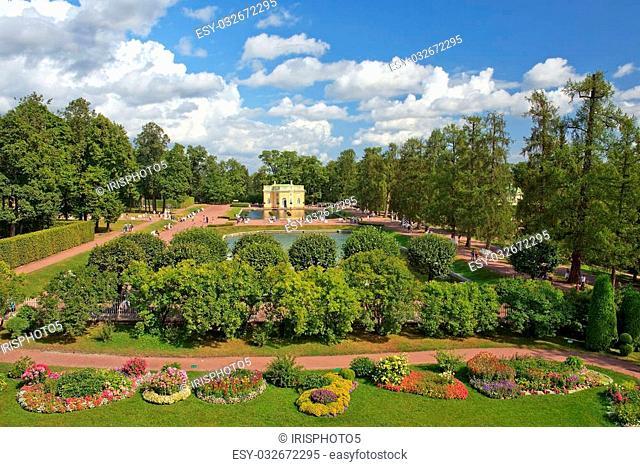 pavilion Upper Bath in Catherine park, Tsarskoye Selo ( Pushkin ), suburb of Saint Petersburg, Russia
