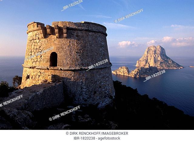 View on Es Vedra island, watchtower Torre del Pirata, Torre de Savinar on Cap del Jueu, Ibiza, Balearic Islands, Spain, Europe
