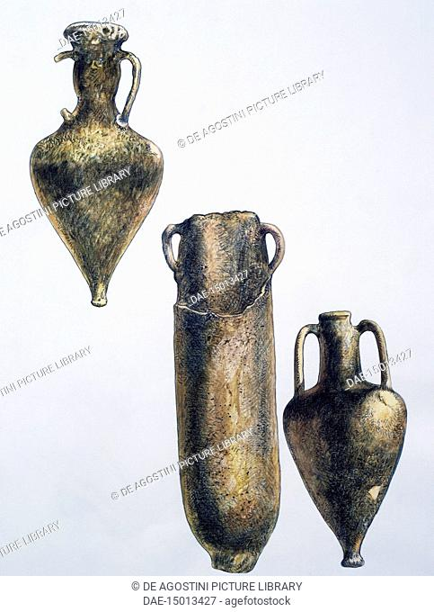 Amphorae found on the Porticello shipwreck, a Greek ship which sank in the Strait of Messina in Porticello, drawing, Calabria, Italy