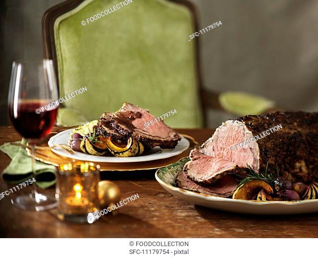 Festive roast beef with roasted vegetables