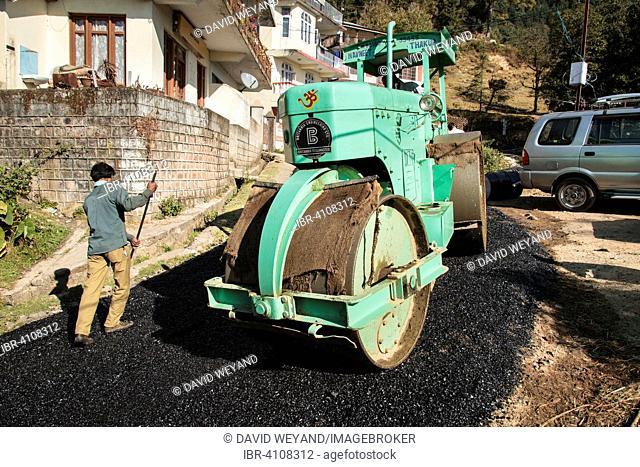 Road construction workers laying tar, roller rolls over fresh asphalt, Tota Rani, Dharamsala, Himal Pradesh, India