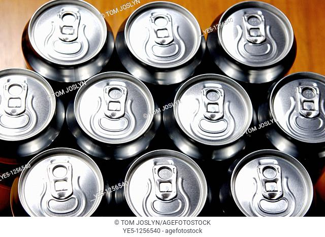 Unopened drink cans close up