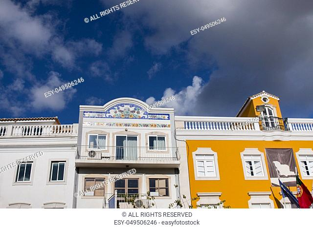 Outdoor view of the main architecture style of buildins in Loule city, Portugal