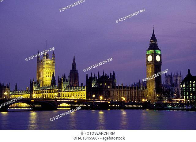 London, England, Great Britain, United Kingdom, Europe, Parliament Buildings, Big Ben, and Westminster Bridge in Westminster along the River Thames in the...