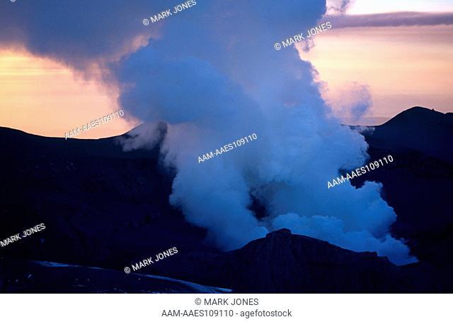 Mt. Ruapehu Eruption 6/96, NZ: Aerial, Summit with Vapor Plume, Tongariro NP, New Zealand