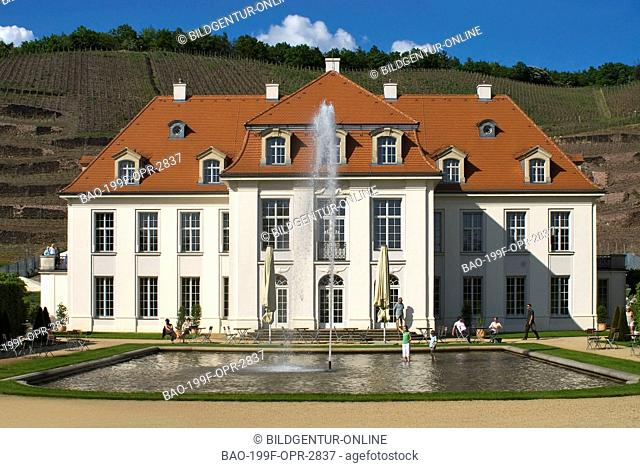 Stock Photo of the historical main buidling of the Saxon State Vineyard Schloss Wackerbarth in Radebeul near Dresden