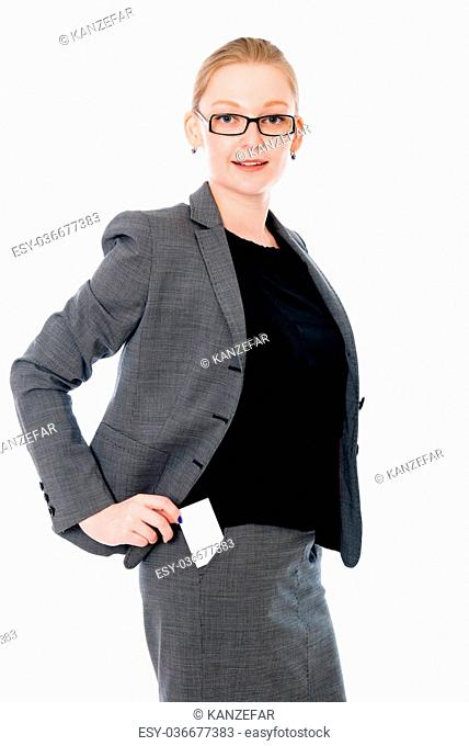 Office woman with a credit card in your pocket. Isolated on white