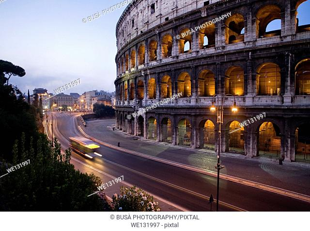 The Colosseum in Rome at twilight