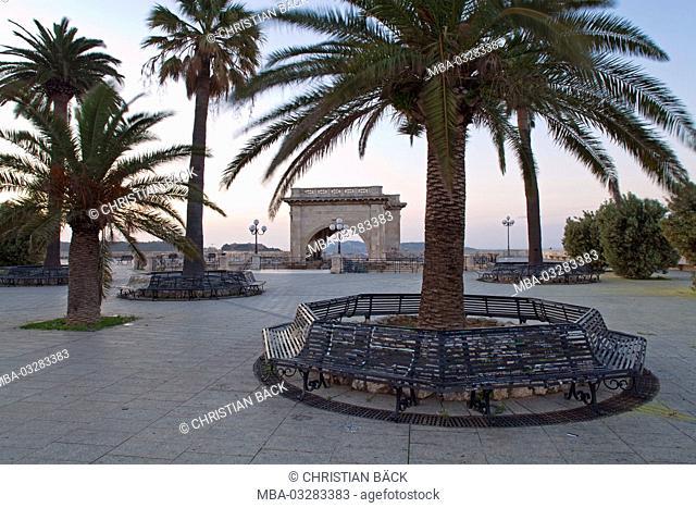Italy, Sardinia, south coast, Cagliari, capital, Castello, old town, Bastione San Remy, Bastione di Saint Remy, Piazza Umberto I.