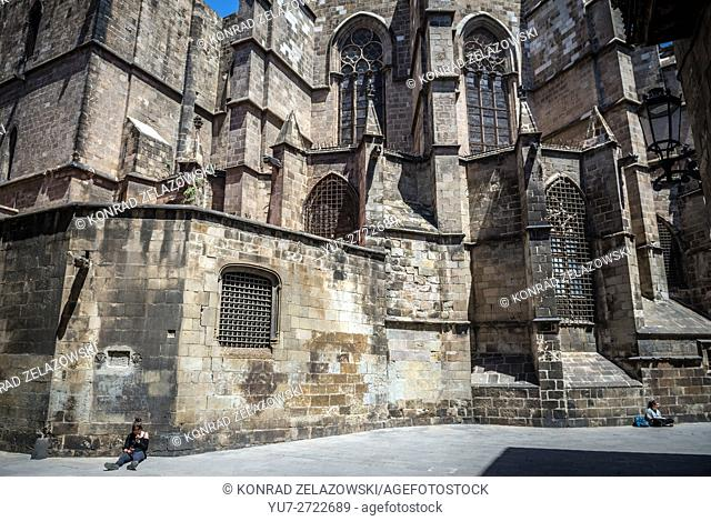 Gothic Cathedral of the Holy Cross and Saint Eulalia called Barcelona Cathedral, Barcelona, Spain