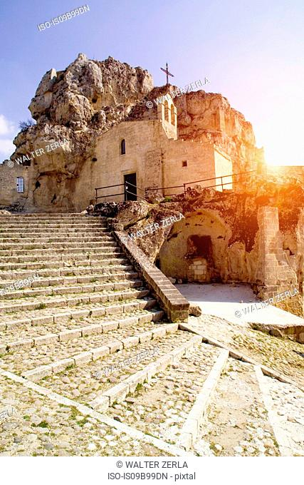 Church built into volcanic rock at Matera, Basilicata, Italy