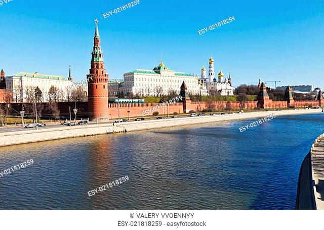 Kremlin, embankments, Moskva river in Moscow